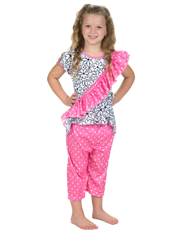 Laura Dare Sweet Daisey Vertical Ruffle Pajamas (2t-14)