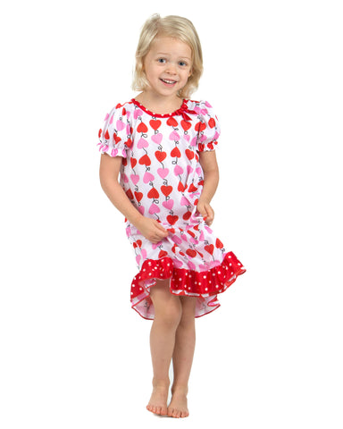 Laura Dare Heart Strings Puff Sleeve Nightgown (6m-6x)