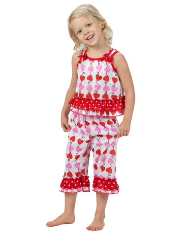 Laura Dare Heart Strings Bow Top Pajamas (6m-6x)