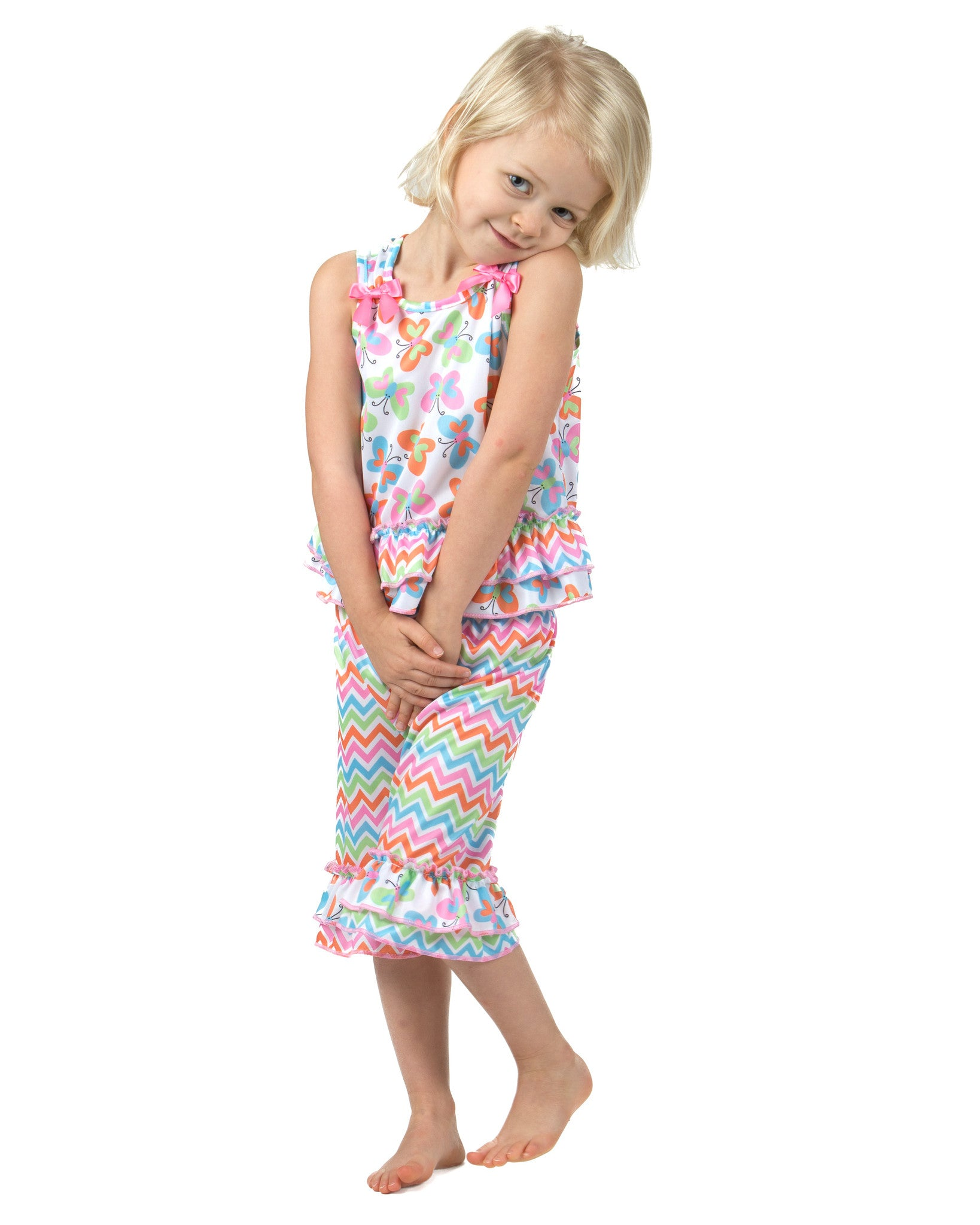 Laura Dare Flutterby Bow Top Pajamas (6m-6x)