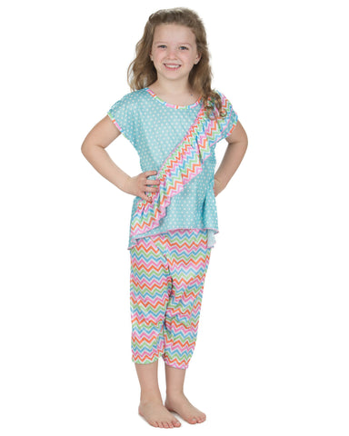 Laura Dare Flutterby Vertical Ruffle Pajamas (2t-14)