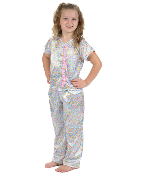 Laura Dare Cotton Candy Button Front Capri Pajamas (2t-14)