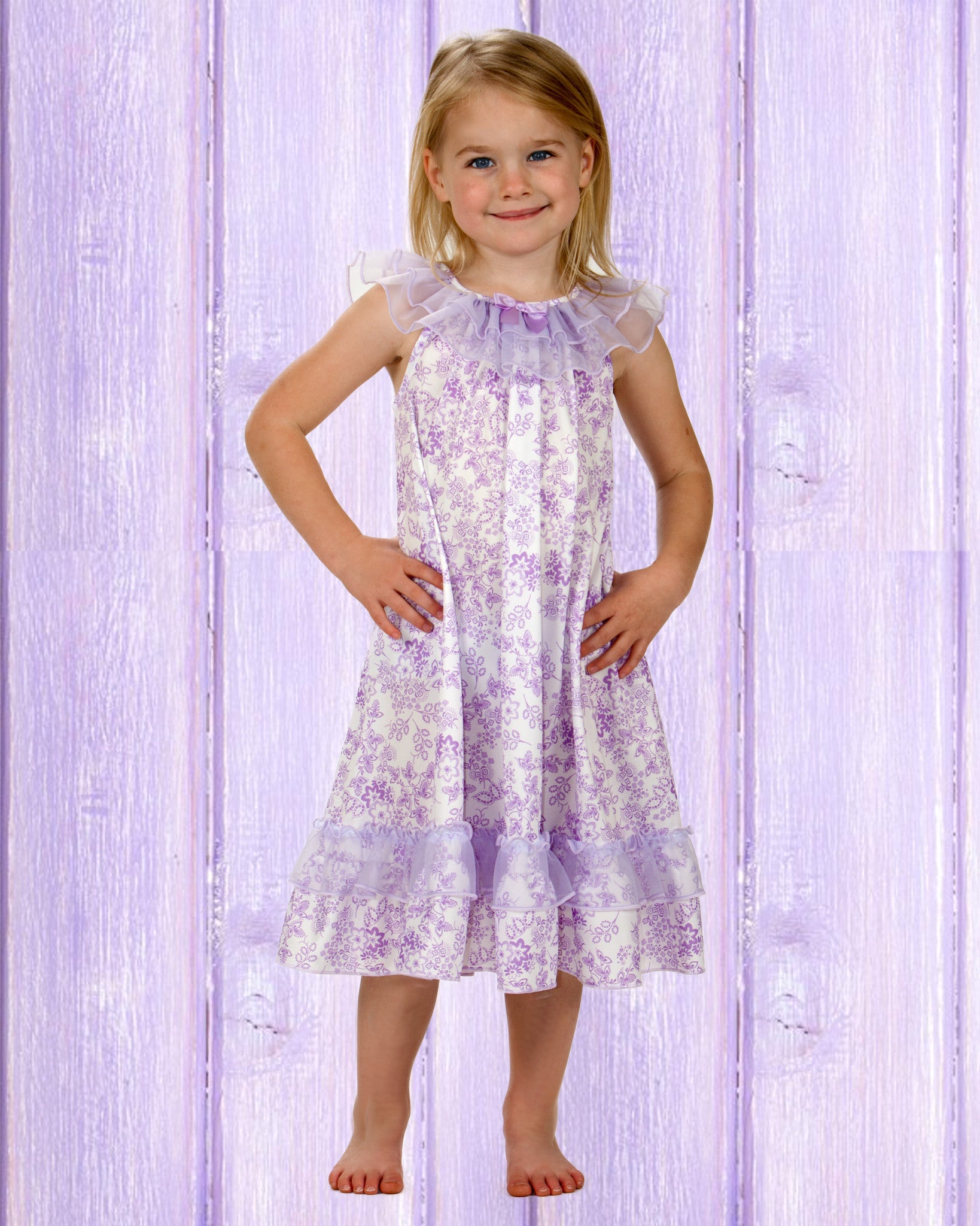Laura Dare Lovely Lavender Floral Frilly Nightgown (2T - 10)