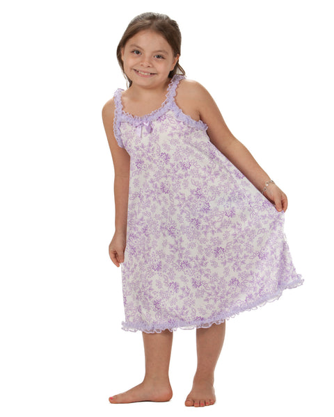Laura Dare Lovely Lavender Floral Spaghetti Strap Nightgown (2T - 14)