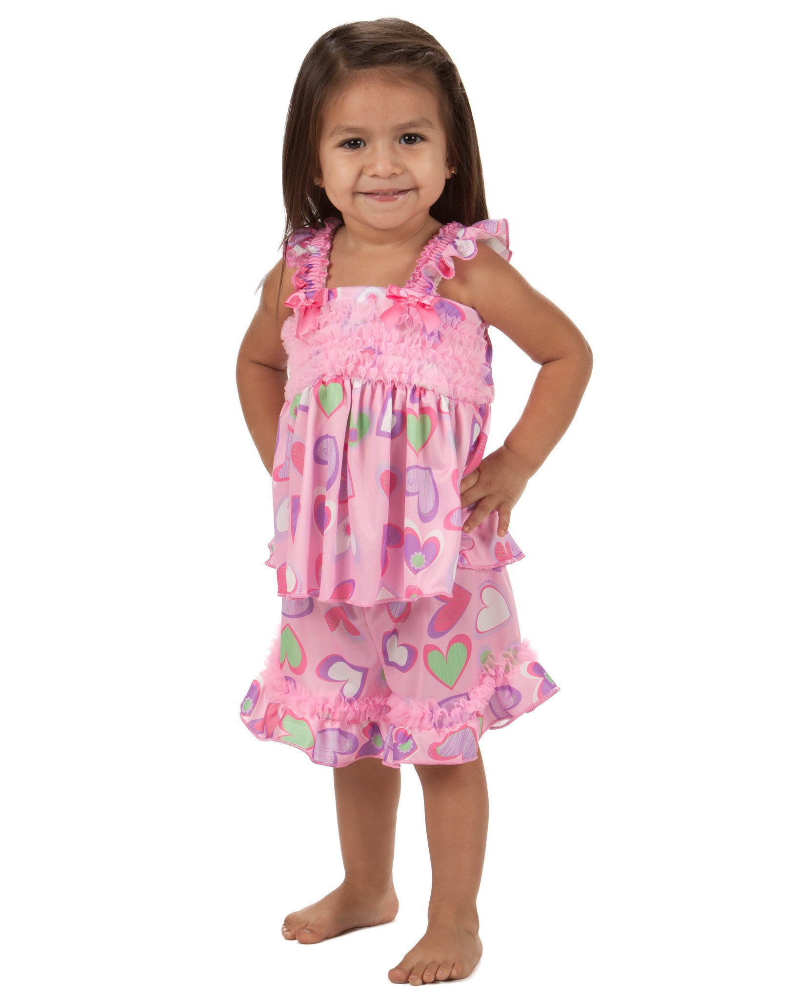 Laura Dare Heart To Heart Frilly Shorty Pajama (6m - 6x)