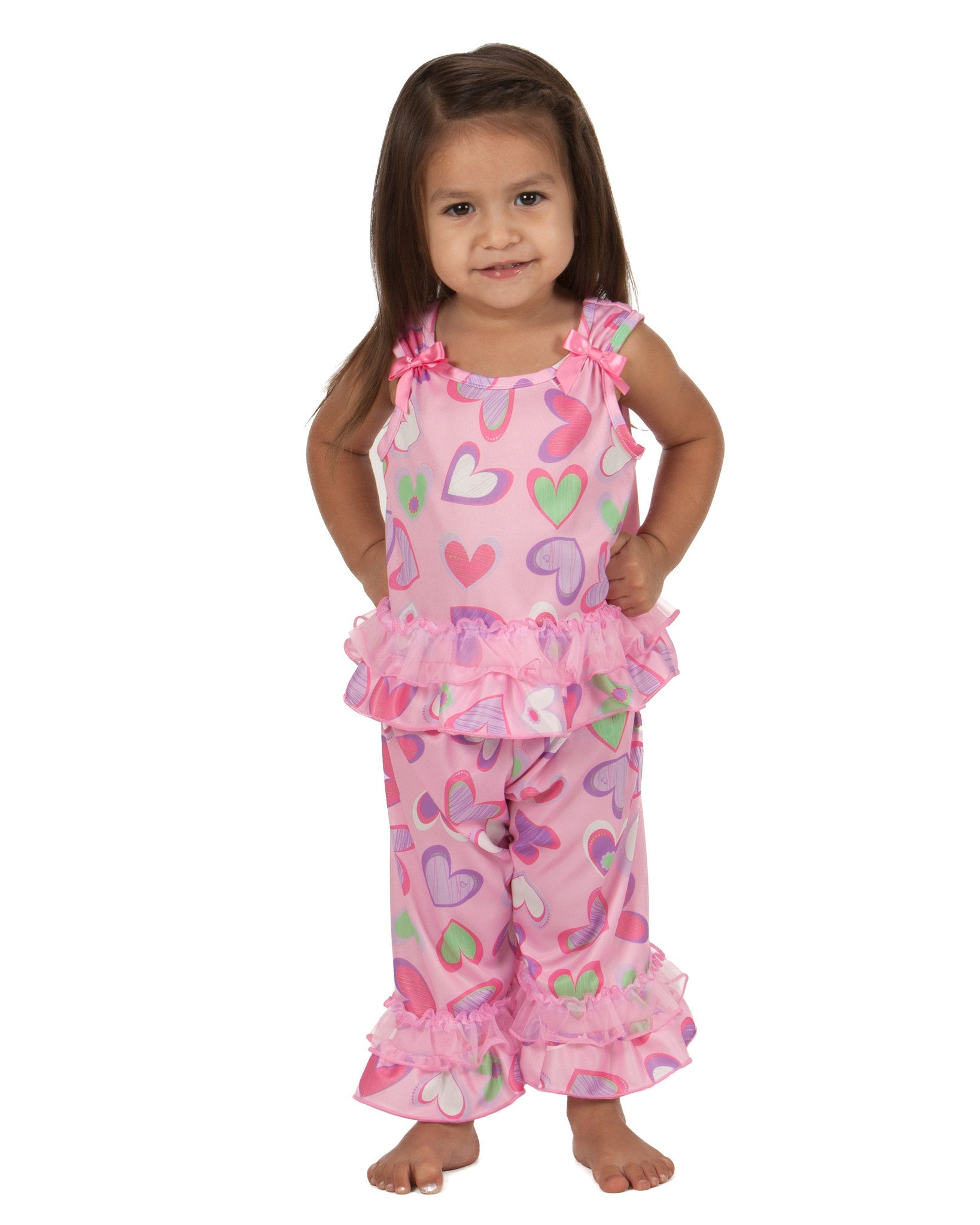 Laura Dare Heart To Heart Bow Top Pajama (6m - 6x)