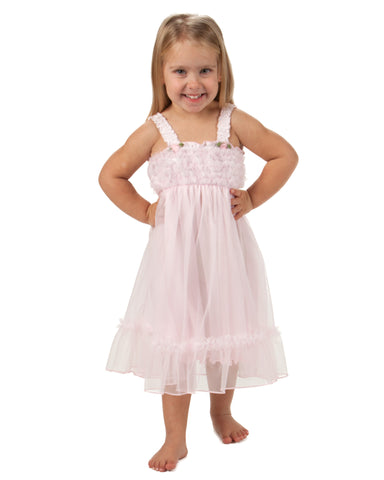 Laura Dare Angel Frills Pink Spaghetti Strap Nightgown (2T - 14)