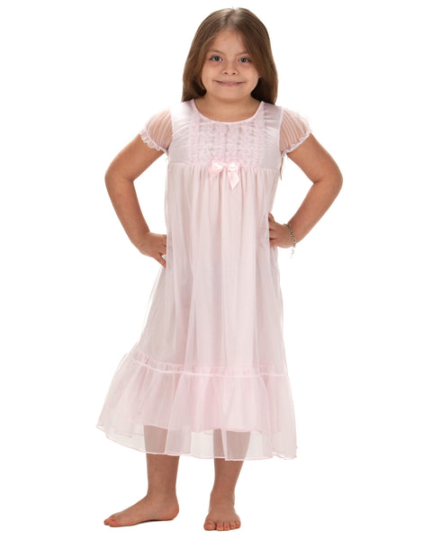 Laura Dare Angel Frills Pink Puff Sleeve Nightgown (6m - 10)