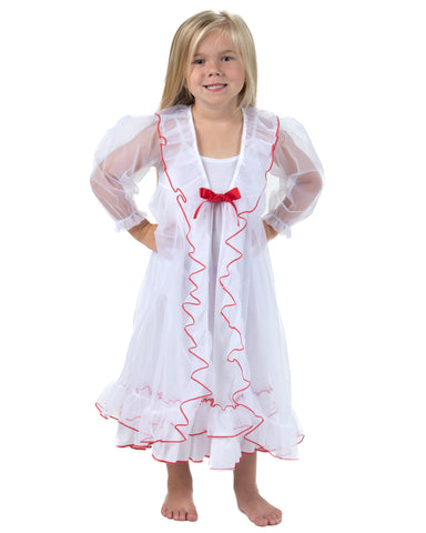 Laura Dare Sweet Princess Peignoir Nightgown & Robe, Red or Pink Trim (2T-14)