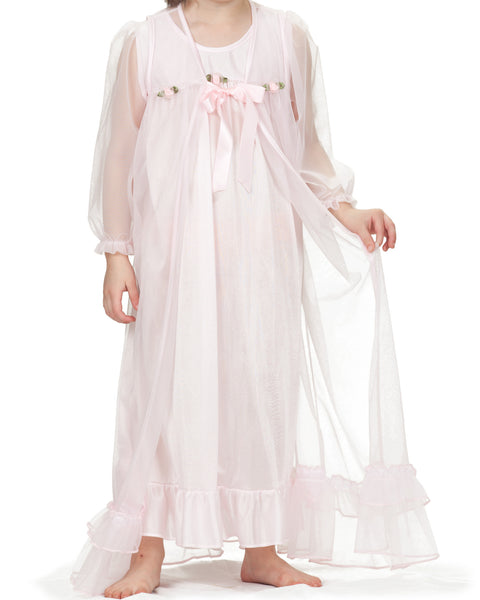Laura Dare Girls Long Sleeve Peignoir Nightgown & Robe Set (5 Colors Available)