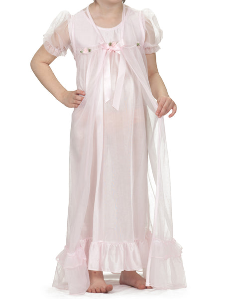 Laura Dare Girls Short Sleeve Peignoir Nightgown & Robe Set (5 Colors Available)