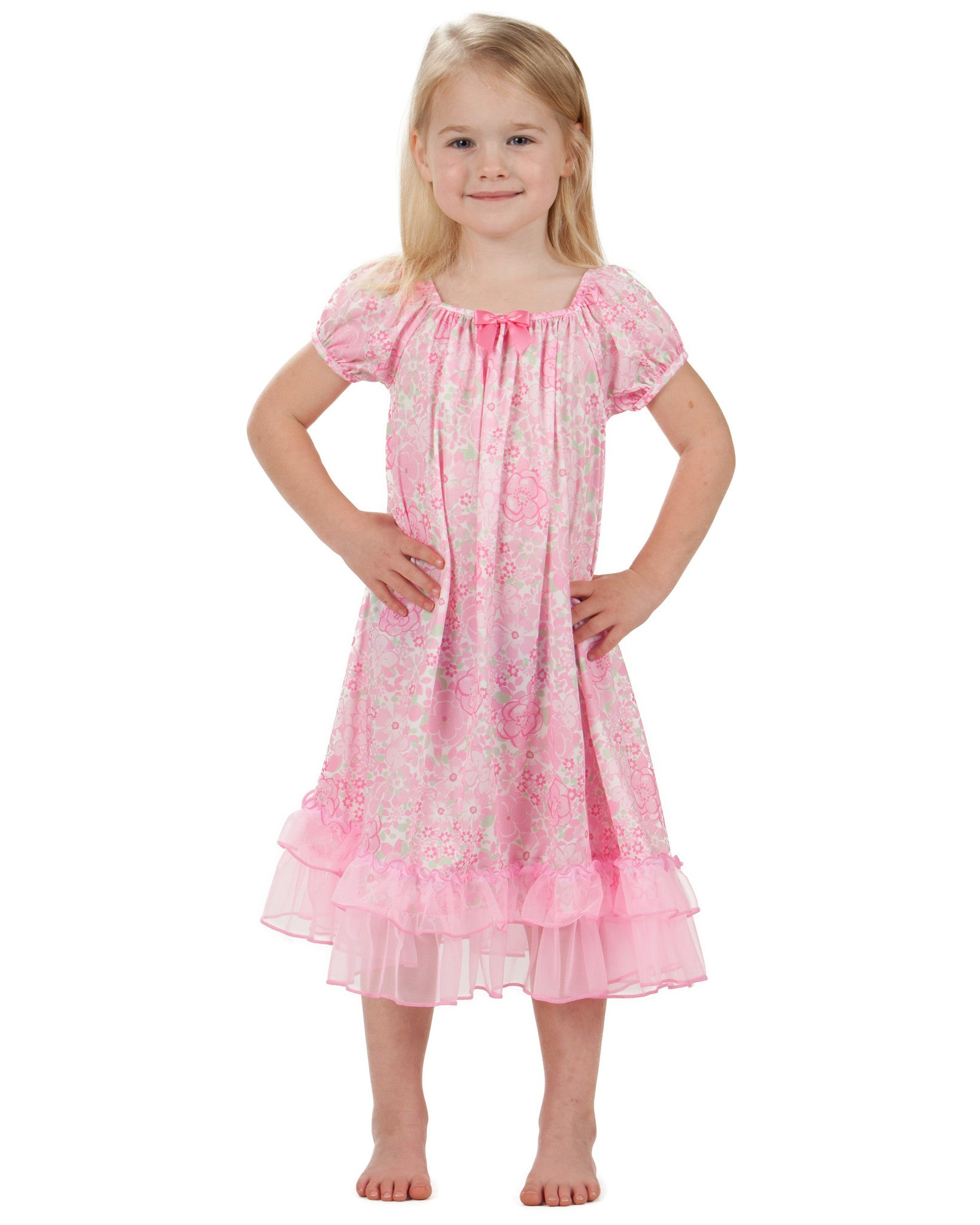 Laura Dare Blossoms Puff Sleeve Nightgown (12m - 14)