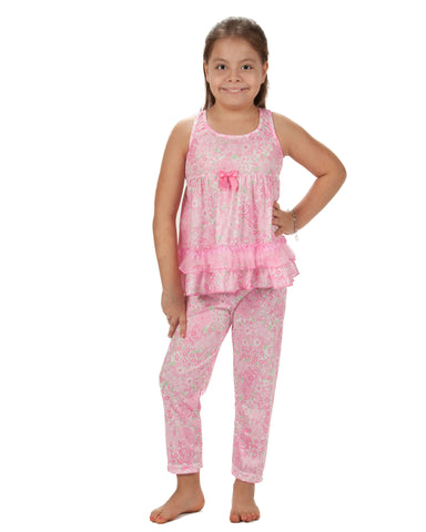 Laura Dare Blossoms Racerback Pajama Set (2T - 14)