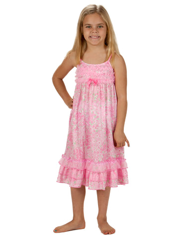 Laura Dare Blossoms Spaghetti Strap Nightgown (2T - 14)