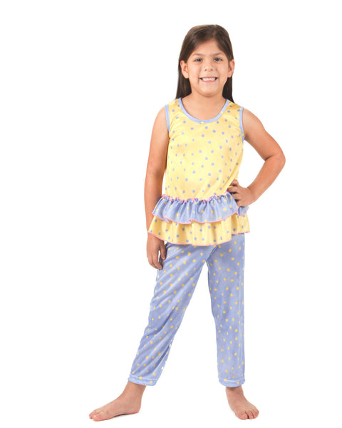 Laura Dare Butter Cup Peek A Boo Back Pajama Set (4-14)
