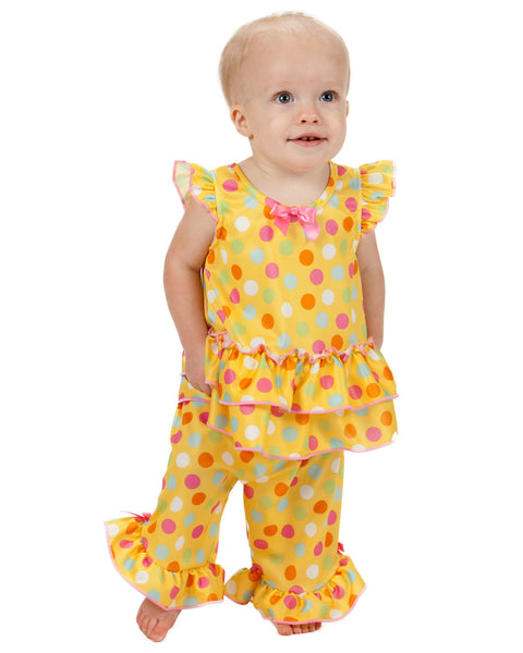 Laura Dare Sprinkles Flutter Sleeve  Pajama Set (6m - 6x)
