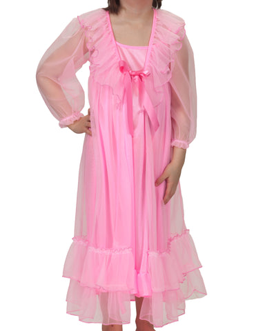 Laura Dare Girls Frilly Peignoir Nightgown & Robe Set (5 Colors Available)