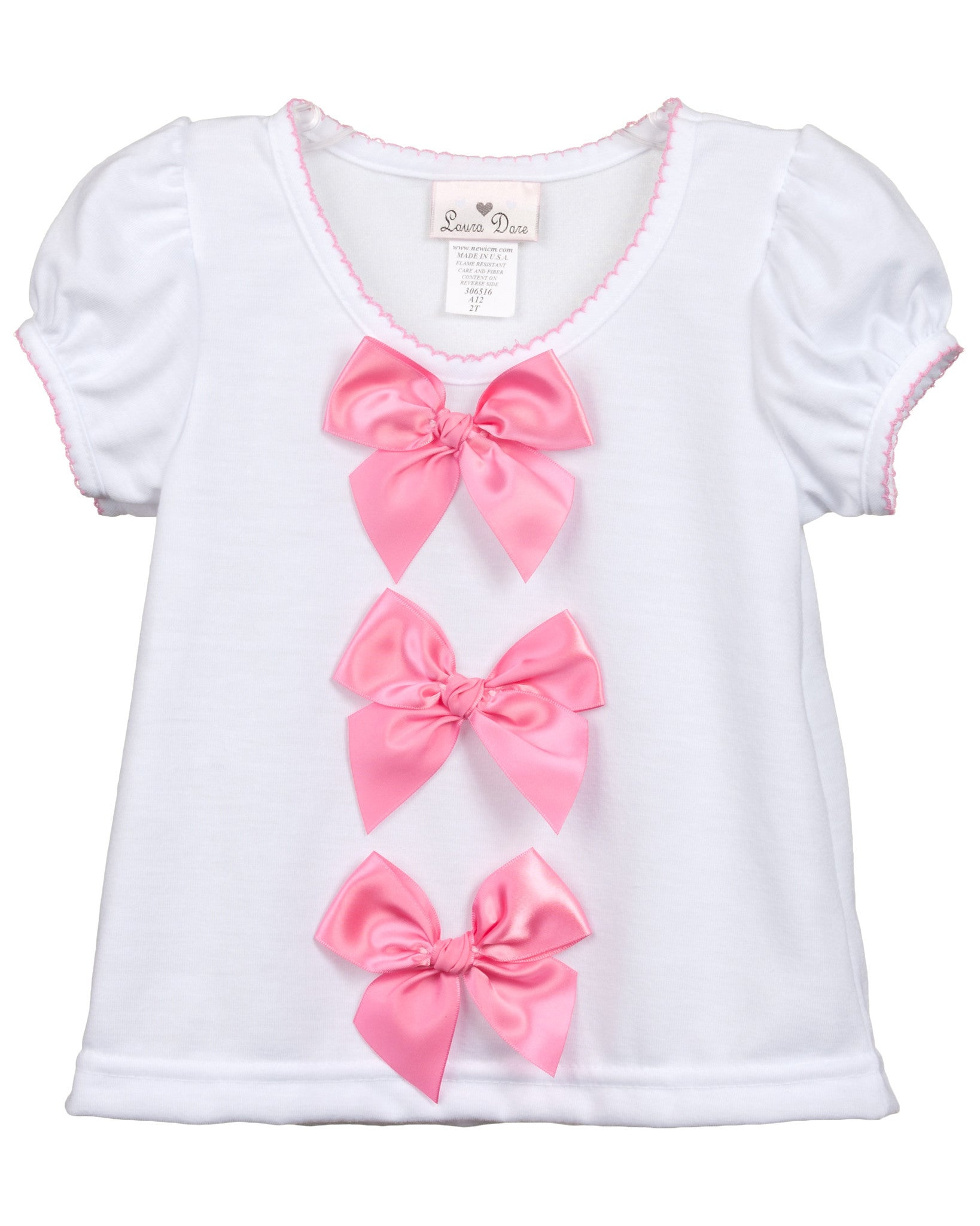 Laura Dare Baby Toddler Girls Bow Top Shirt (Many Colors Available)