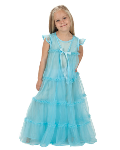 Laura Dare Girls Princess Peignoir Gown and Robe Set (3 Colors Available)