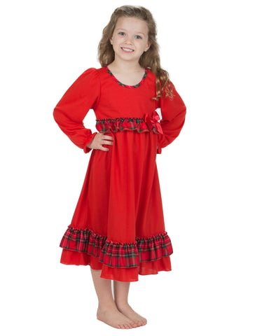 Laura Dare Girls Holiday Plaid Long Sleeve Nightgown (6m - 14)