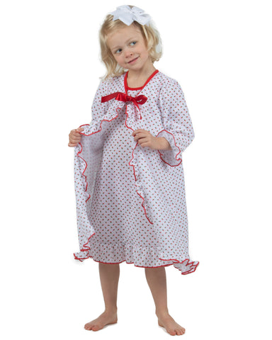 Girls Holiday Red Rosebud Peignoir Gown Robe (2T-14)