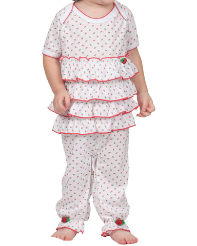 Infant Girls Holiday Rosebud Frilly Romper (NB-24m)