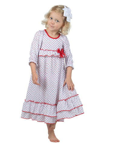 Girls Holiday Red Rosebud Long Sleeve Gown (12m-14)