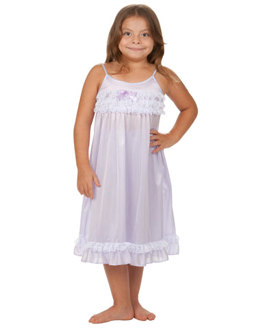 Laura Dare Angel Frills Lilac Spaghetti Strap Nightgown (2T - 14)