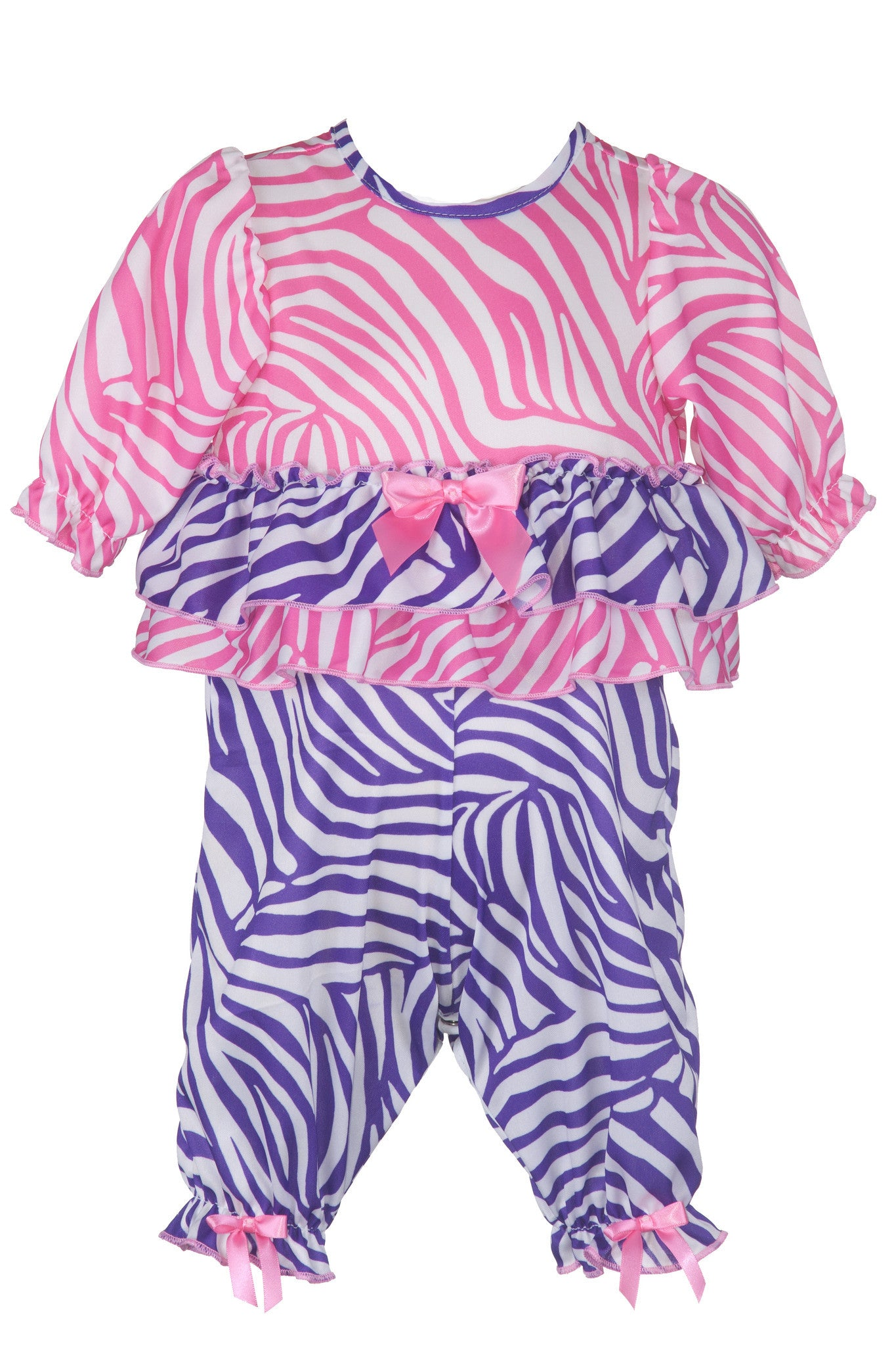 Laura Dare Slumber Party Zebra Ruffled Jumpsuit