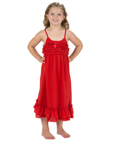 Laura Dare Cheerful Cherry Red Holiday Jersey Spaghetti Strap Nightgown (2T-14)