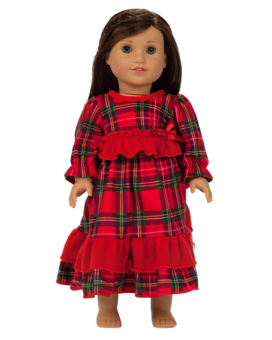 Laura Dare Christmas Morning Plaid Doll Gown