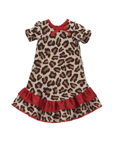 Laura Dare Leopard Skin Puff Sleeve Nightgown (6m - 10 and Matching Dollgown)