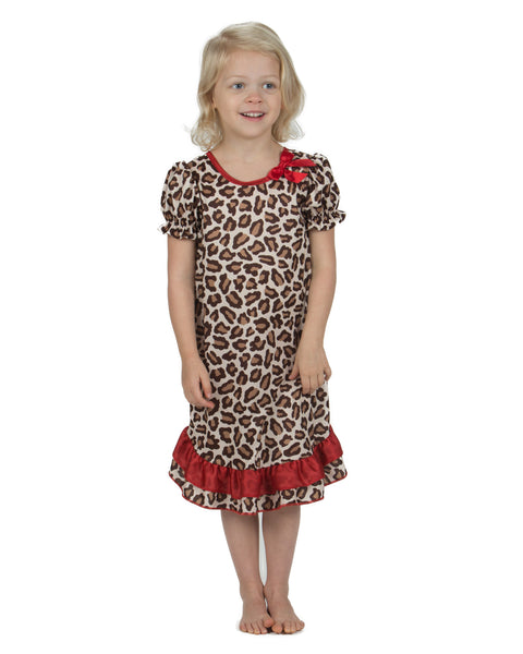 Laura Dare Leopard Skin Puff Sleeve Nightgown