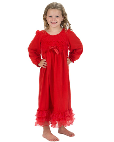 Laura Dare Cheerful Cherry Red Holiday Jersey Long Sleeve Nightgown (12m-14)