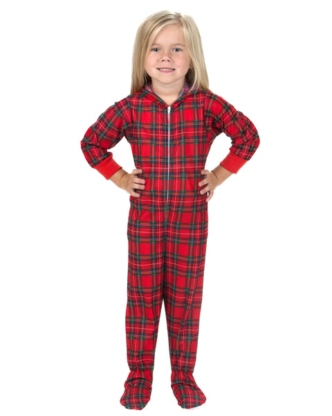 Laura Dare Holiday Tartan Hoodie Footie Jumpsuit