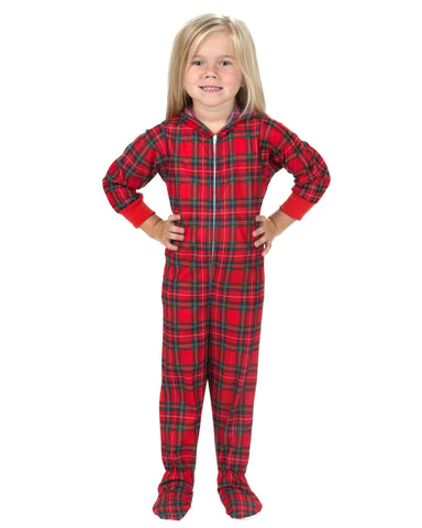 Laura Dare Holiday Tartan Plaid Hoodie Footie Jumpsuit (6M-16)