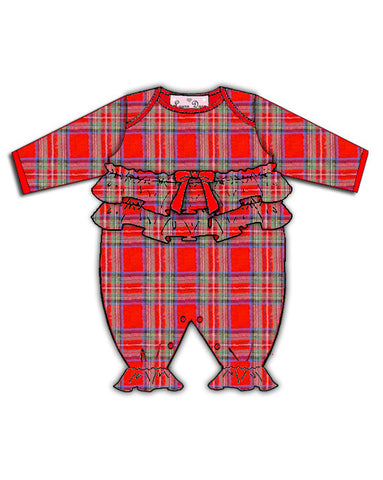Laura Dare Holiday Tartan Plaid Ruffled Jumpsuit (NB-24m)