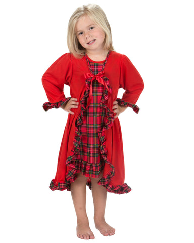 Laura Dare Holiday Tartan Plaid Peignoir Nightgown & Robe (2T-14)