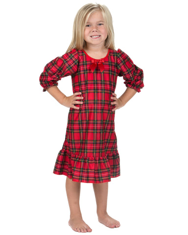 Laura Dare Holiday Tartan Plaid Long Sleeve Nightgown (12M-14)