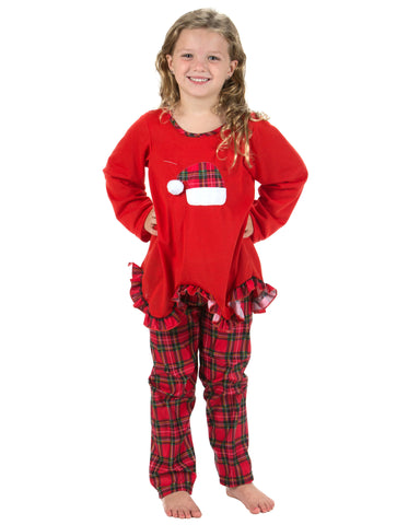 Laura Dare Holiday Tartan Plaid Santa Hat Pajamas (2T-14)