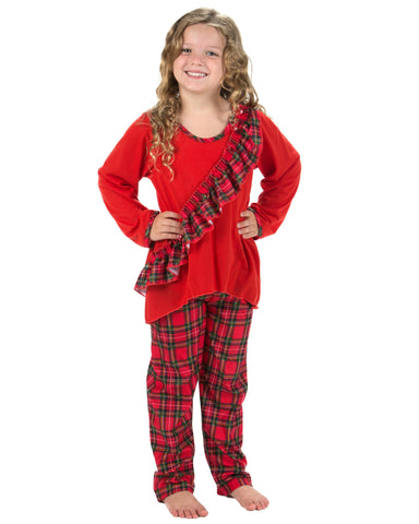 Laura Dare Holiday Tartan Plaid Vertical Ruffle Pajamas (2T-14)
