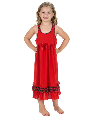 Laura Dare Holiday Tartan Plaid Racerback Nightgown (2T-14)