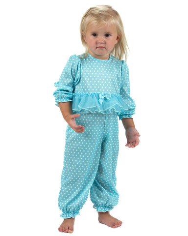 Laura Dare All The Rage Blue Ruffled Jumpsuit (NB-24m)
