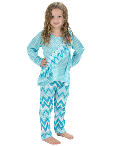 Laura Dare All The Rage Blue Vertical Ruffle Pajamas (2T-14)