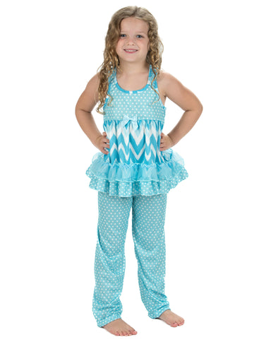 Laura Dare All The Rage Blue Racerback Pajamas (2T-14)