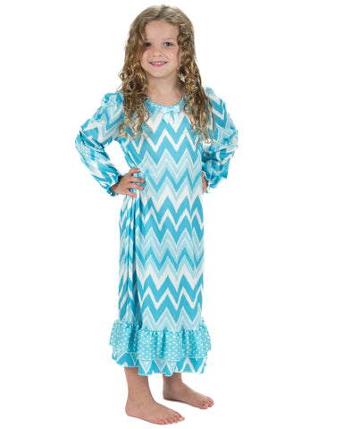 Laura Dare All The Rage Blue Long Sleeve Nightgown (12m-14)