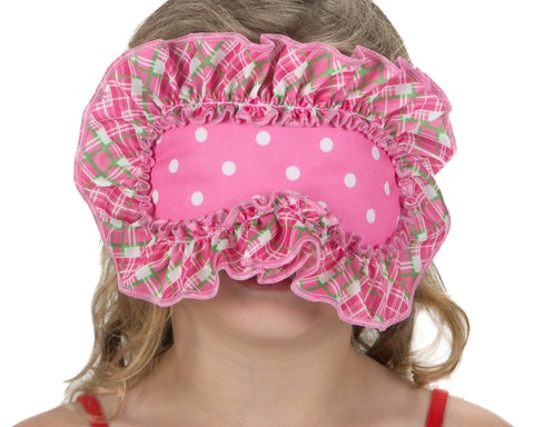 Laura Dare Pink Playful Plaid Children's Sleep Mask