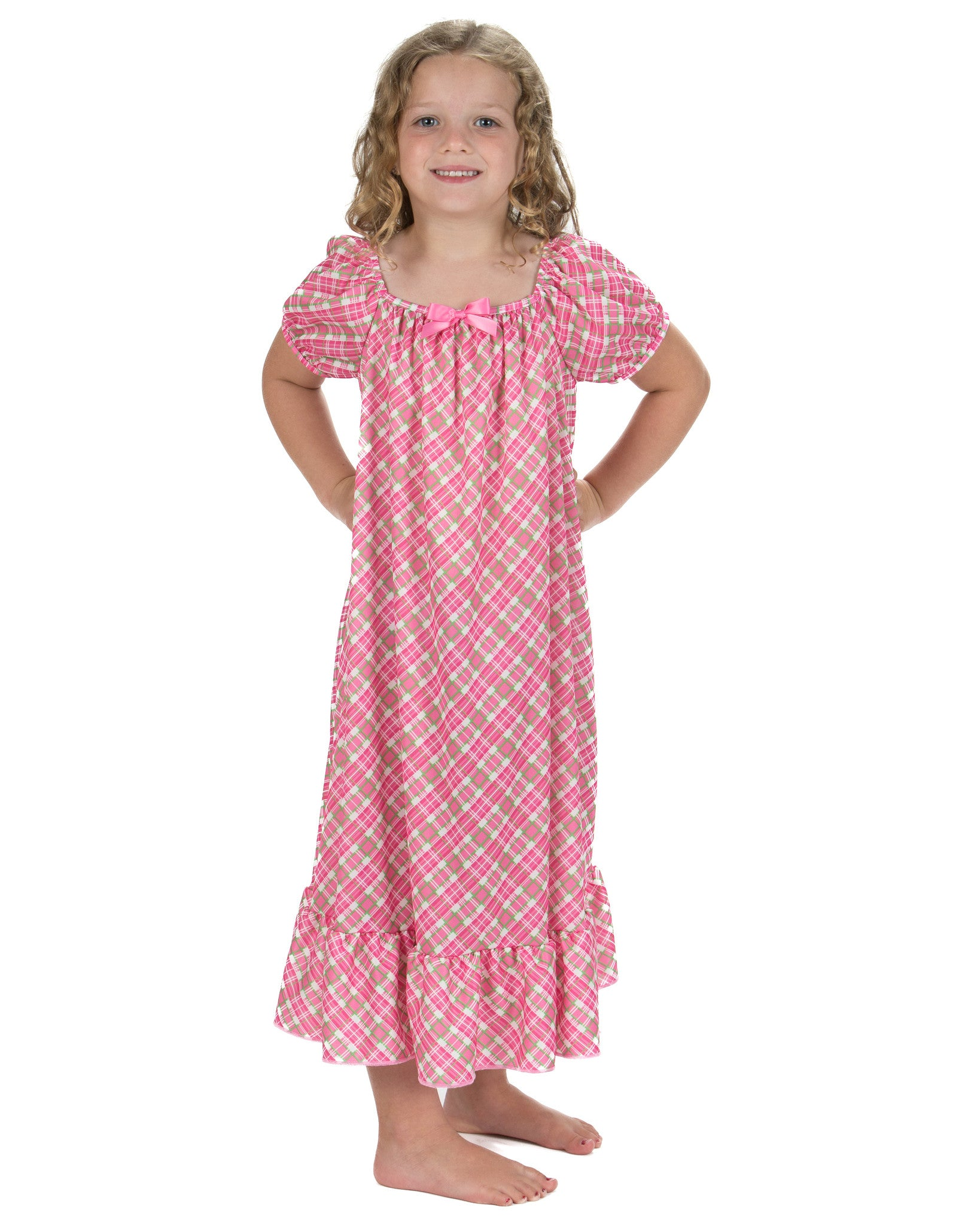 Laura Dare Playful Plaid Puff Sleeve Nightgown
