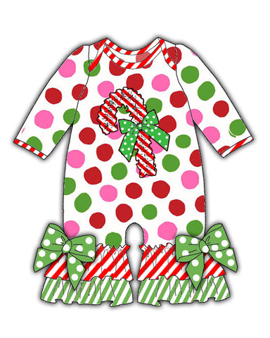 Laura Dare Magical Dots Candy Cane Jumpsuit (NB-24m)