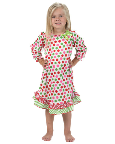 Laura Dare Magical Dots Long Sleeve Nightgown (12M-14)